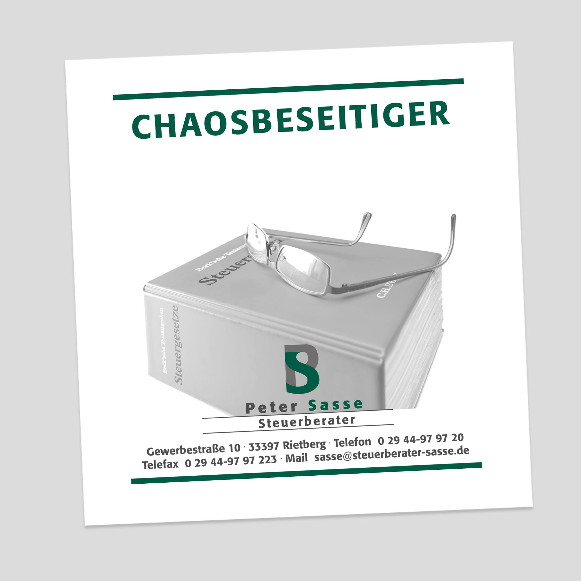 Sasse – Anzeige – Chaosbeseitiger
