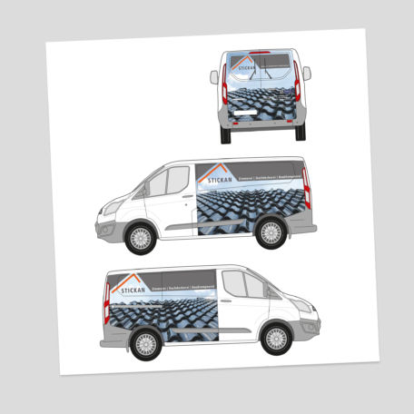Fahrzeugbeklebung (Entwurf) für Dachdeckerbetrieb